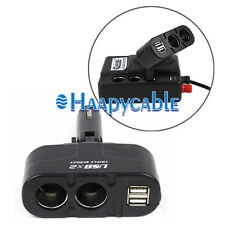New 12V DC Car Cigarette Lighter Dual USB&2 Way Socket Splitter Charger Adapter