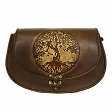 Vintage Handmade Genuine Brown Leather Handbag with a Embossed Tree of Life