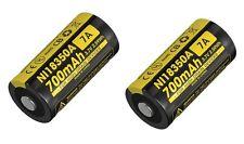 2 NiteCore IMR 18350 NI18350A 700mAh 7A 3.7V Li-ion Rechargeable Batteries