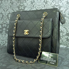 Rise-on Vintage CHANEL Matelasse Lamb Skin Black Flap Chain Shoulder Bag #1623 t