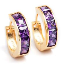 Gorgeous 18K Gold Filled Purple Cubic Zirconia Hoop Earrings Gift Box Packing