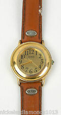 VINTAGE 80'S  MEN'S GUESS WATCH LEATHER BAND GOLD TONE FACE, NO BACK