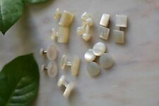 Vintage Art Deco Lots of Cufflinks Carved Mother of Pearl Lot of 6 Pairs