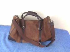 """Marlboro Brown Suede Leather Duffle Tote Bag Gym Travel CarryOn Luggage 21"""""""