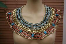 Fatto a mano con perline Egiziano Cleopatra 7 SCARAB collana collare