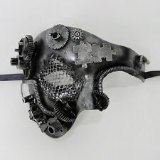 Steampunk Phantom Theater Masquerade Mask for Men - Metallic Silver (M39021)