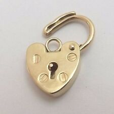 Victorian 9K 9ct Yellow Gold Heart Lock Locket Clasp Charm Pendant 0.8gr
