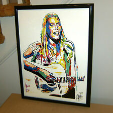 Joni Mitchell, Acoustic Guitar, Singer Songwriter, Folk Rock, 18x24 POSTER w/COA