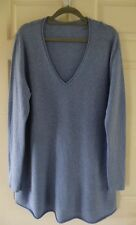 Ladies 100% Cashmere V Neck Blue Long  Tunic Jumper 18-20