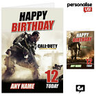 CALL OF DUTY Personalised Kids Birthday Card Large A5 COD Party ADD NAME Gift