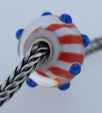 Authentic Trollbeads Star Spangled Bead US61107 USA New Red Glass Charm Bead