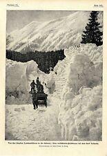 Lawinenstürze in der Schweiz verschüttete Poststraße bei dem Dorf Casaccia 1901