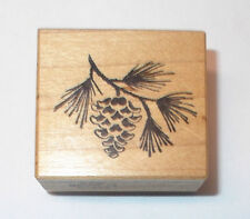 PSX C-286 Pine cone tree branch wood mounted twig needles wooden stamp rubber
