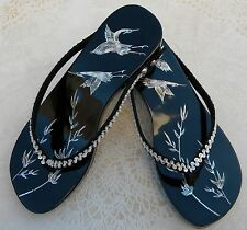 New Asian Oriental Black Lacquer Wood MOP Inlay Cranes Geta Clogs Shoes S