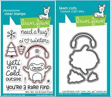 Lawn Fawn Photopolymer Clear Stamps 12ct + Dies ~ YETI, SET GO ~ LF567, LF780