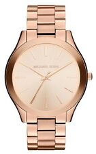 MICHAEL KORS MK3197 Runway Rose Gold Tone Dial Stainless Steel Wrist Watch NEW