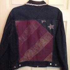 VTG 1990s Tommy Hilfiger Jeans Denim Jacket American Flag Jean XL Blue Jean USA