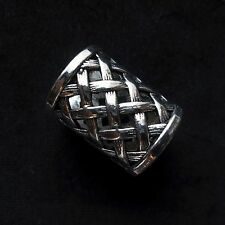 Scarf Ring, Tibetan Silver,  17mm internal x 3cm, weave pattern, gift bag