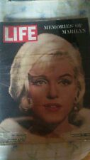 MEMORIES OF MARILYN MONROE LIFE MAGAZINE AUG 17 1962 JOE DIMAGGIO ARTHUR MILLER