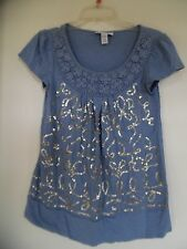 STYLE & CO WOMENS BLUE SEQUINED  CROCHETED SHORT SLEEVE SHIRT  TOP SIZE S