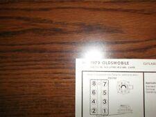 1979 Oldsmobile Series 4.3 Litre 260 CI V8 2BBL SUN Tune Up Chart Great Shape!