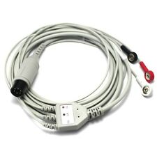 One-Piece 3 Lead ECG/EKG Cable with Leadwire 6pin Snap AHA Compatible TPU Berry