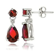Sterling Silver Created Ruby Teardrop Dangle Earrings