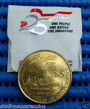 1990 Singapore 25 years of Independence $5 Commemorative Coin