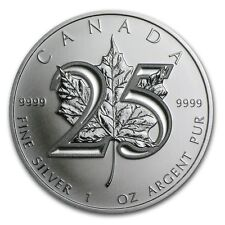 2013 $5 Canada Silver Maple Leaf 25th Anniversary 1oz .9999 Fine Silver BU Coin