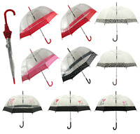 Ladies Automatic Clear Dome Walking Umbrella Various Colours Polka dot Birdcage