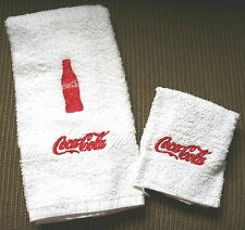 """Coca Cola Bottle"" 1 White Hand towel w/red thread & 1 Cloth New embroidered"