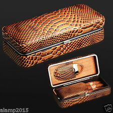 COHIBA Lizard Snake Pattern Leather Cedar Wood Cigar Case  Humidor with Cutter