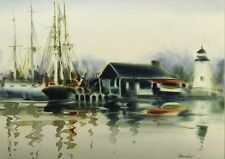 "Doug Lew ""Misty Harbour"" Original Watercolor Painting boats sea MAKE OFFER!"