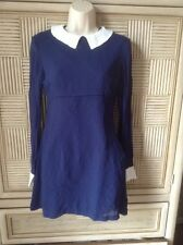 Vintage Mod Twiggy Mini Baby doll Navy Chiffon Dress Pop England