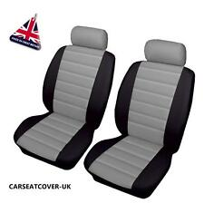 MG TF - Front PAIR of Grey/Black LEATHER LOOK Car Seat Covers