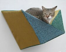Geometric cat shelf modern wall bed, teal, evergreen & gold - washable slipcover
