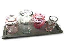 Windlicht mit Holzplatte und 5 Gläsern in Pastellfarben, Maße Holzplatte 40x14cm