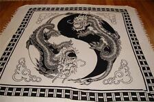 NEW YIN YANG BLACK WHITE DRAGON BEDSPREAD BED THROW FENG SHUI DOUBLE/QUEEN