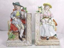 2 Vintage Victorian Man & Woman Mini Figurines Porcelain Bookends Japan By Wales
