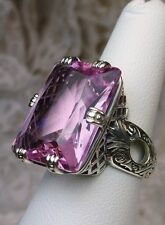 30ct *Pink Topaz* Art Deco 1930's Design Sterling Silver Filigree Ring Size 7