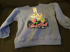 NEW YOUTH DISNEY STORE TINKERBELL FAIRY BLUE SWEATSHIRT SHIRT SIZE 6-6X SMALL!