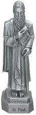 Statue St. Paul 3.5 inch Solid Pewter Bethany Fine Silver Saint Card Catholic