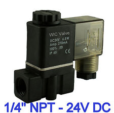 """1/4"""" Inch Normally Closed Air Gas Water Plastic Electric Solenoid Valve 24V DC"""