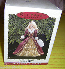 1996 Happy Holidays Barbie #4 Hallmark Ornament NRFB MIB Box dented from storage