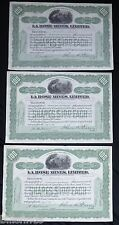 3 1918 LaRose [Silver] Mines Limited Stock Certificates Cobalt Ontario Canada