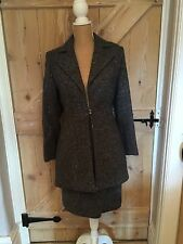 ROLAND KLEIN Womens Grey Vintage Pure New Wool Skirt Suit LONDON UK 12 EU 38