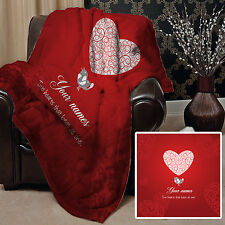 PERSONALISED VALENTINES DAY GIFT LOVE BIRDS DESIGN SOFT FLEECE THROW BLANKET
