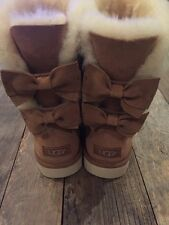 NWB Ugg Australia Women's Meilani Bow Boots Size 7 Chestnut