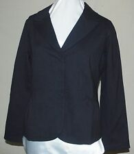 DIALOGUE LONG SLEEVE NOTCH COLLAR PONTE JACKET BLACK FRONT SEAM W/GATHERS MED