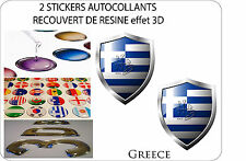 2 X STICKERS COVERED WITH RESINATED WINE BLAZON 3D EFFECT 60 mm X 50 mm GREECE
